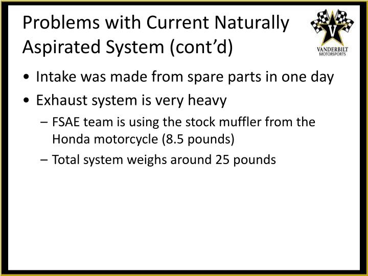 Problems with Current Naturally Aspirated System (cont'd)
