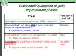 risk benefit evaluation of yield improvement phases