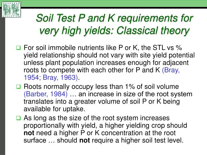 Soil Test P and K requirements for very high yields: Classical theory