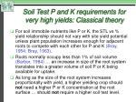 soil test p and k requirements for very high yields classical theory