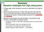 summary research challenges from high yield growers1