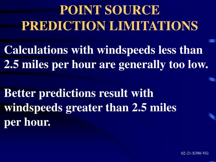 POINT SOURCE PREDICTION LIMITATIONS