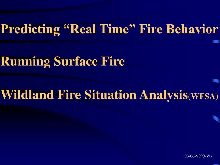 "Predicting ""Real Time"" Fire Behavior"