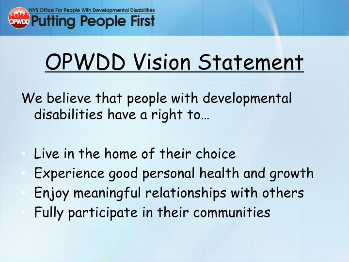 OPWDD Vision Statement