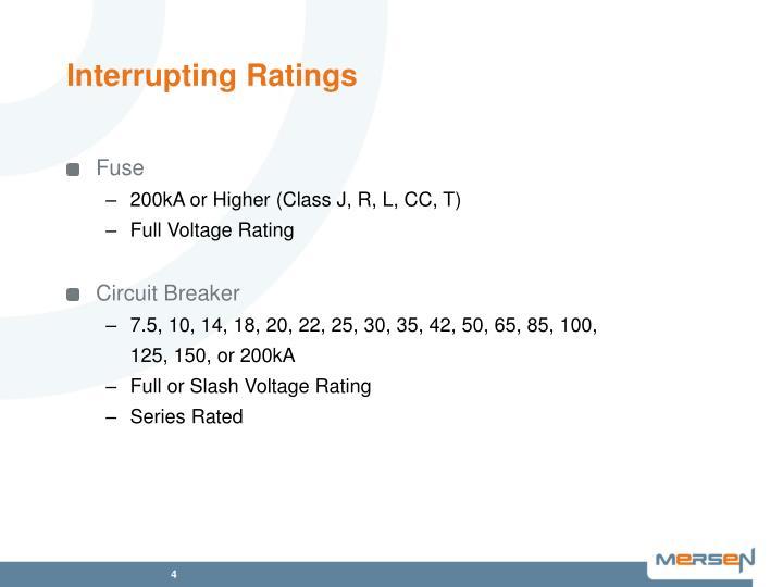 Interrupting Ratings