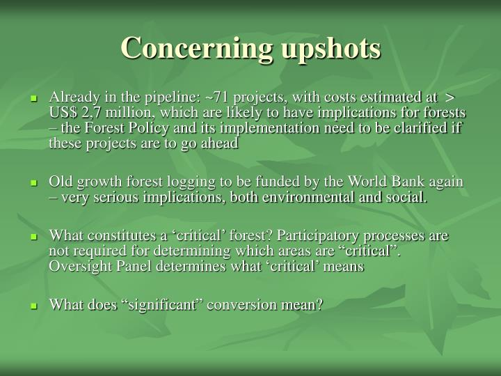 Concerning upshots