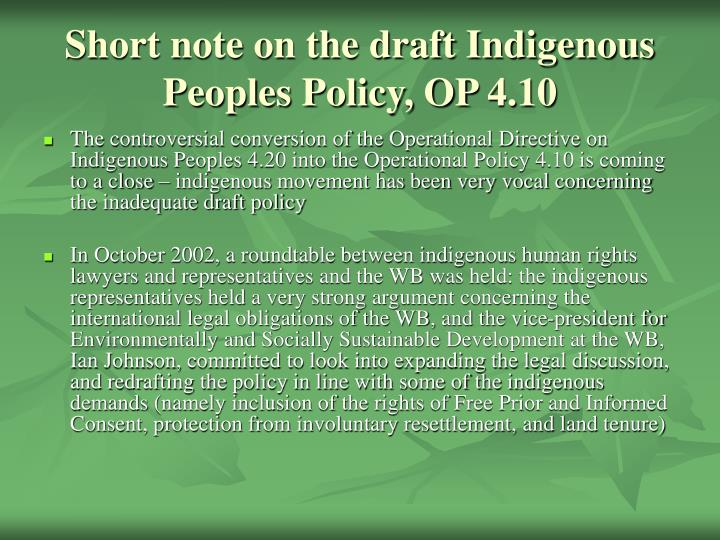Short note on the draft Indigenous Peoples Policy, OP 4.10
