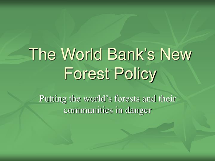 The world bank s new forest policy