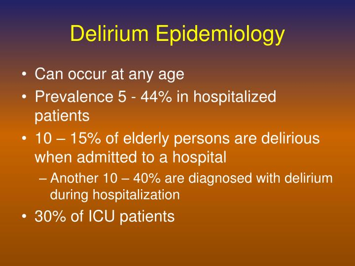 Delirium Epidemiology