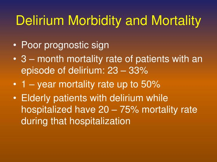 Delirium Morbidity and Mortality