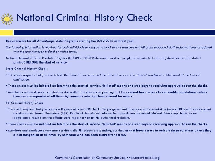 National Criminal History Check
