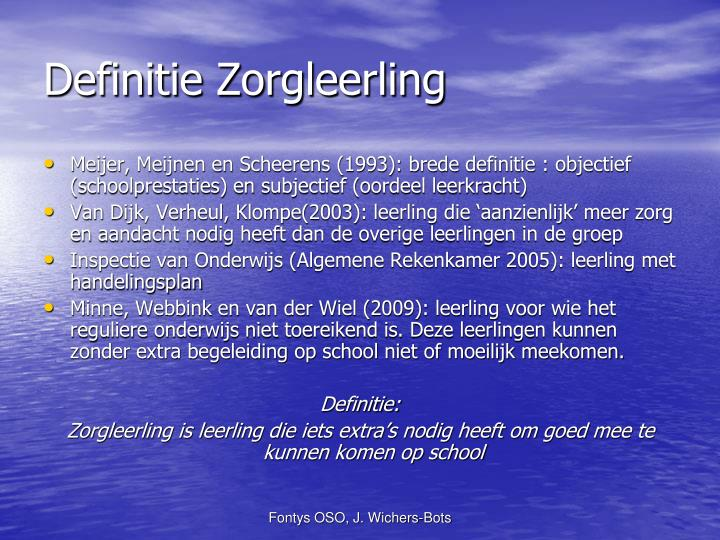 Definitie Zorgleerling