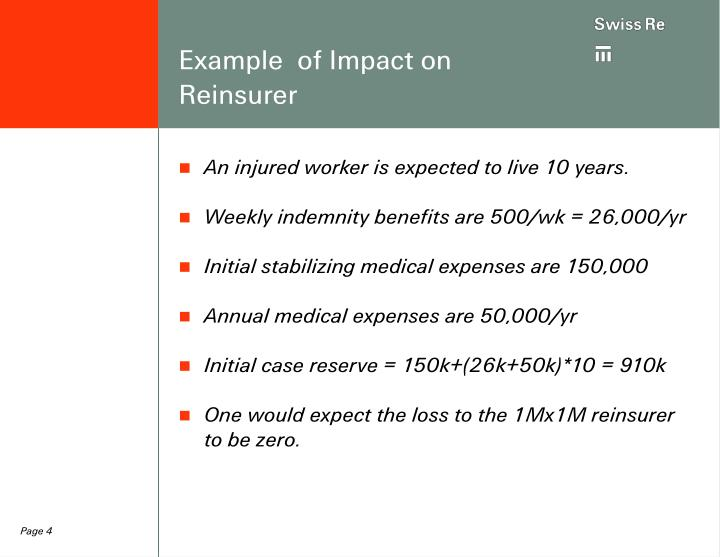 Example  of Impact on Reinsurer