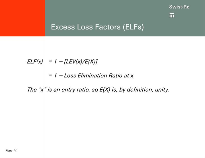 Excess Loss Factors (ELFs)