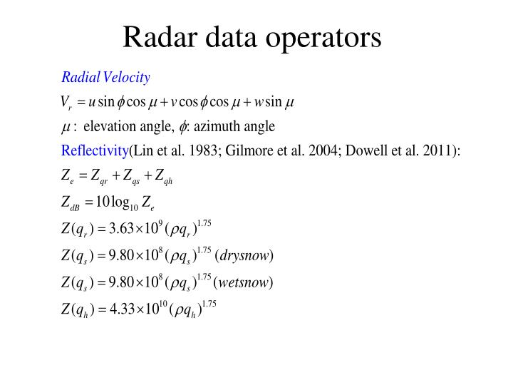 Radar data operators