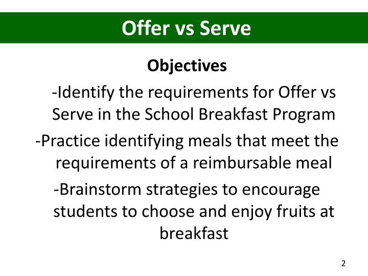 Offer vs Serve