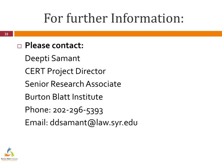 For further Information: