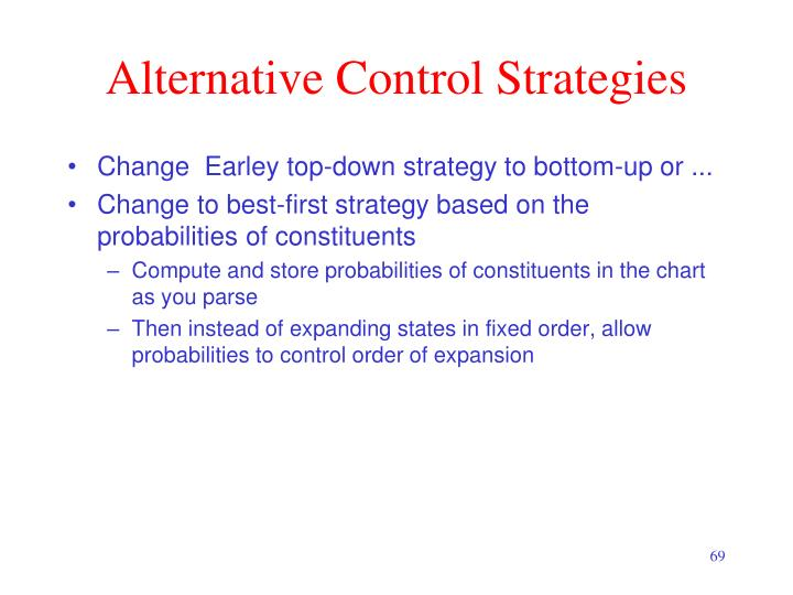 Alternative Control Strategies