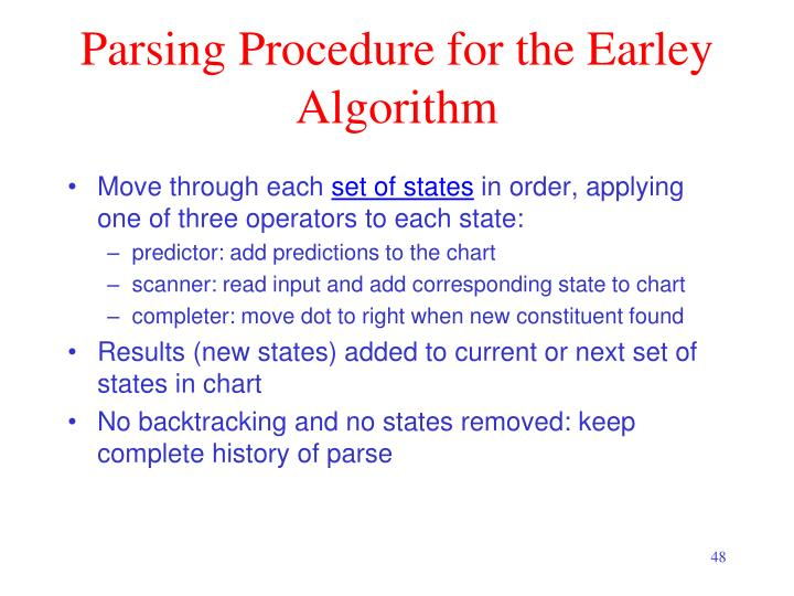 Parsing Procedure for the Earley Algorithm