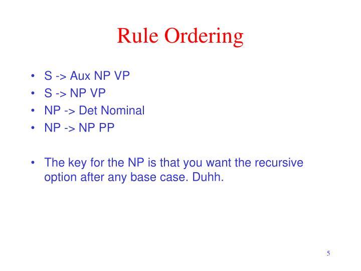 Rule Ordering