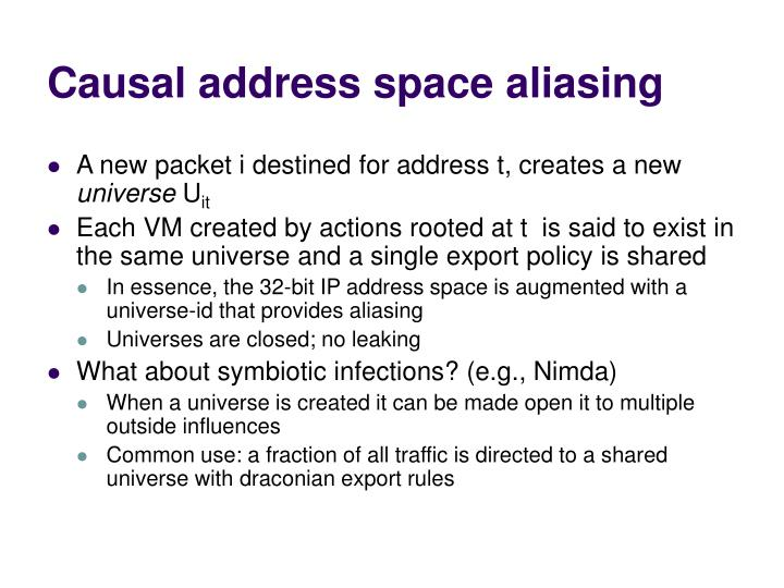Causal address space aliasing