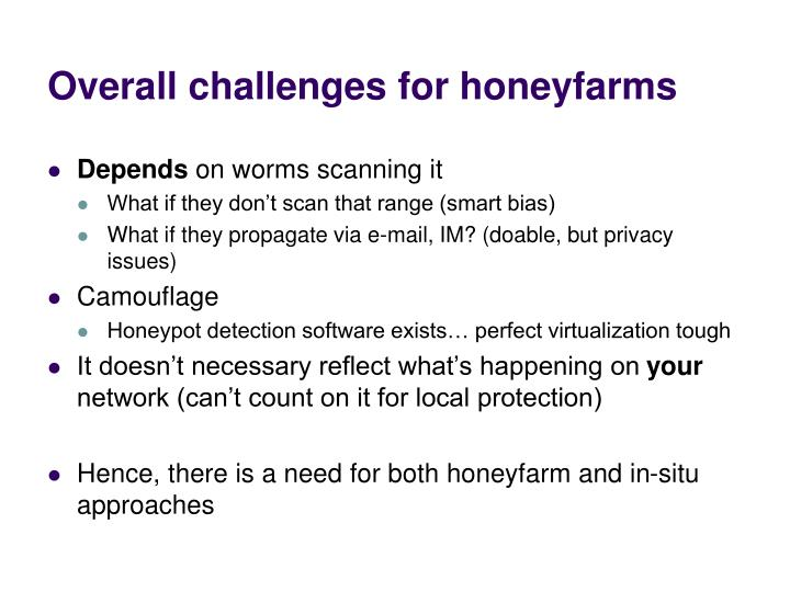 Overall challenges for honeyfarms