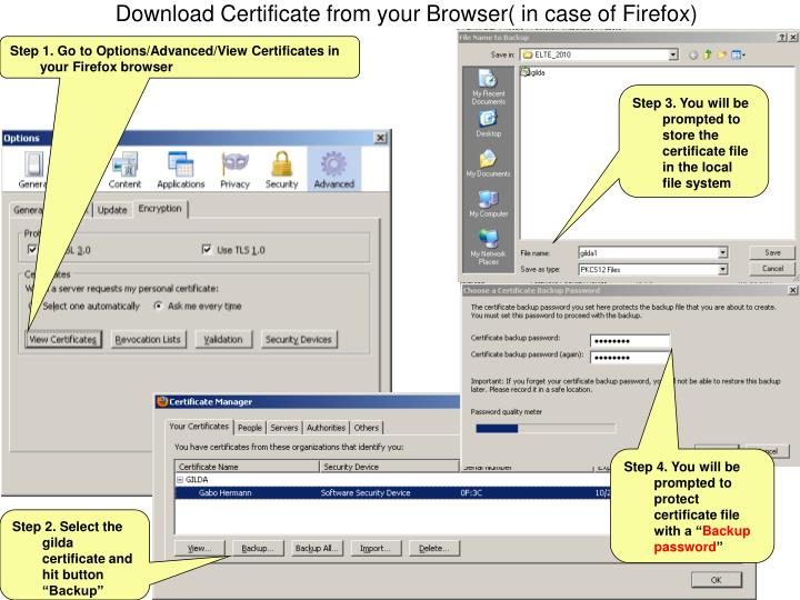 Download Certificate from your Browser( in case of Firefox)