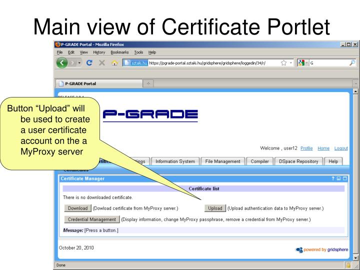 Main view of Certificate Portlet
