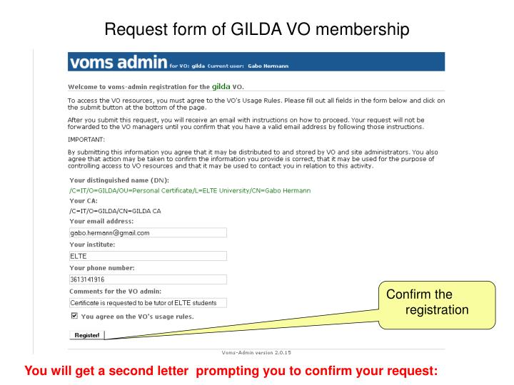 Request form of GILDA VO membership