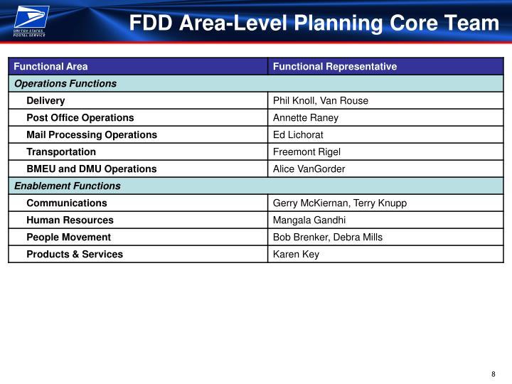 FDD Area-Level Planning Core Team