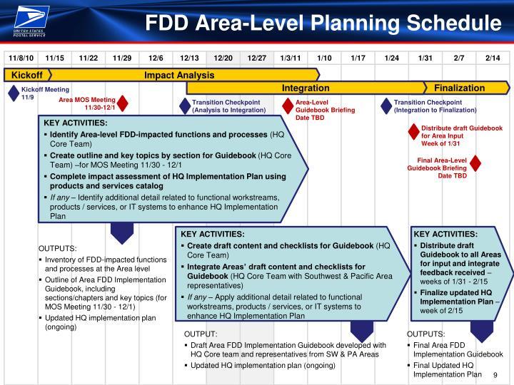 FDD Area-Level Planning Schedule