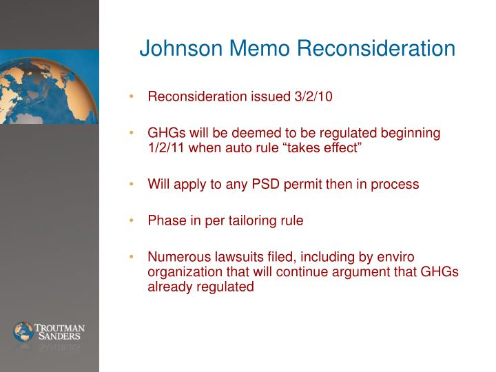 Johnson Memo Reconsideration