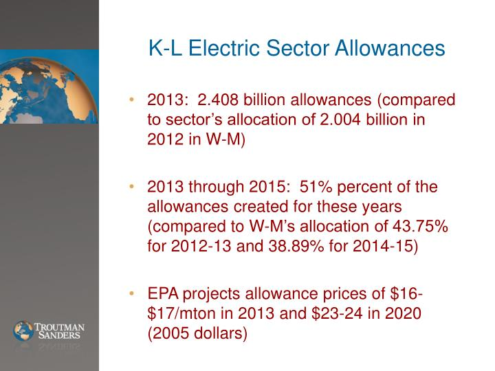 K-L Electric Sector Allowances