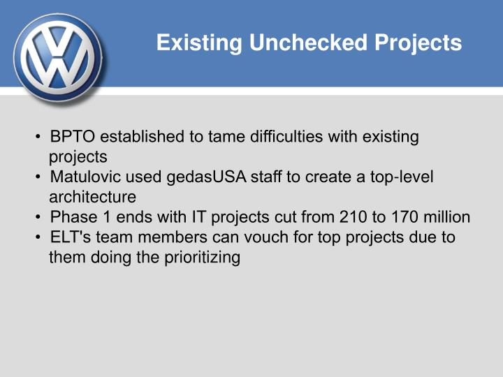 Existing Unchecked Projects