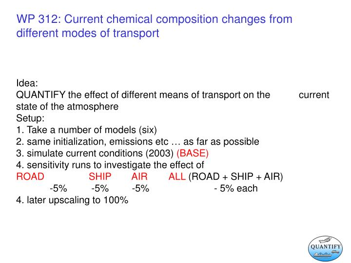 Wp 312 current chemical composition changes from different modes of transport