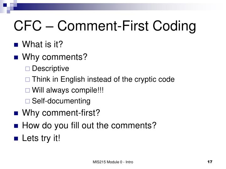 CFC – Comment-First Coding
