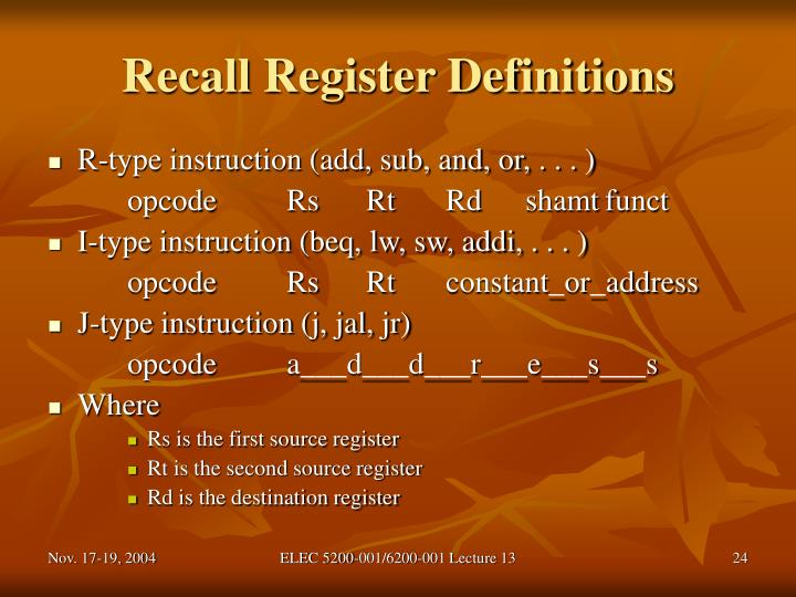 Recall Register Definitions