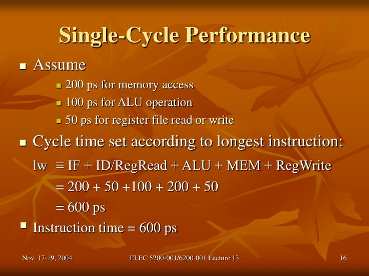 Single-Cycle Performance