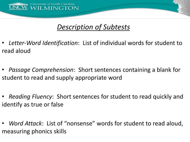 Description of Subtests