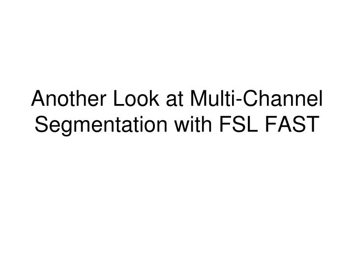 Another Look at Multi-Channel Segmentation with FSL FAST