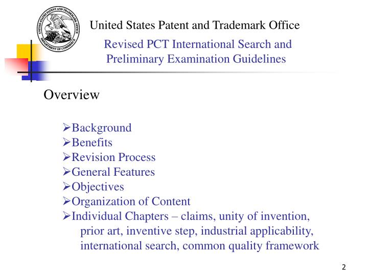 Revised pct international search and preliminary examination guidelines