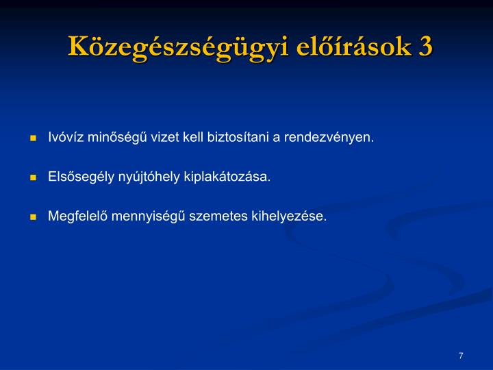 Közegészségügyi előírások 3