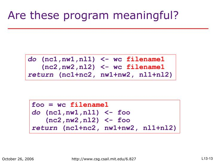 Are these program meaningful?