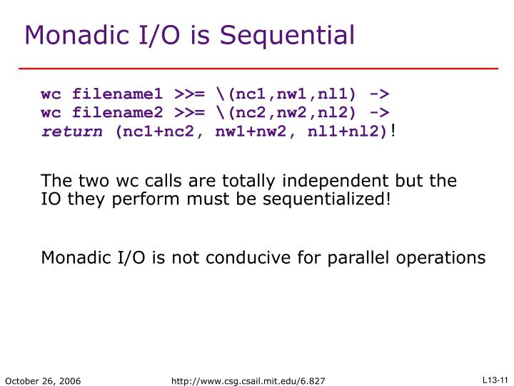 Monadic I/O is Sequential