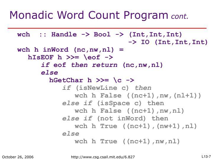 Monadic Word Count Program