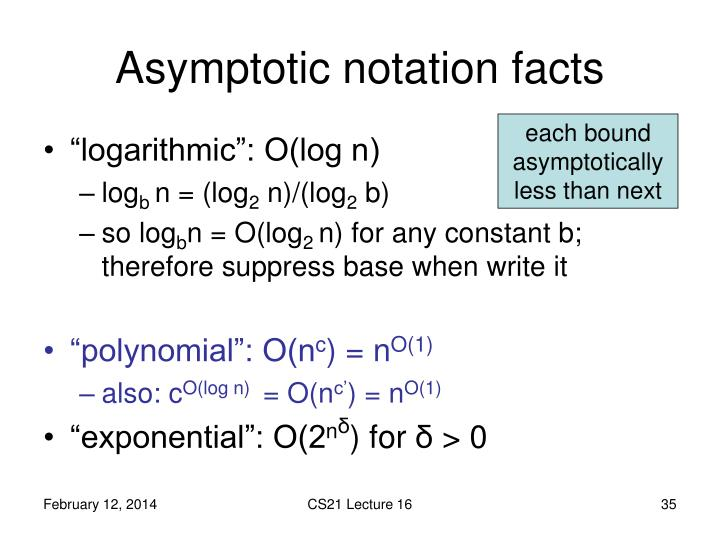 Asymptotic notation facts