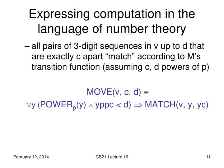 Expressing computation in the language of number theory