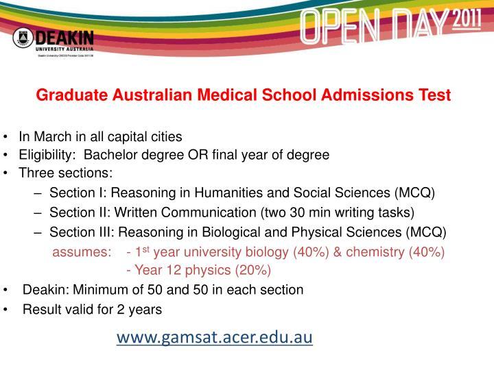 Graduate Australian Medical School Admissions Test