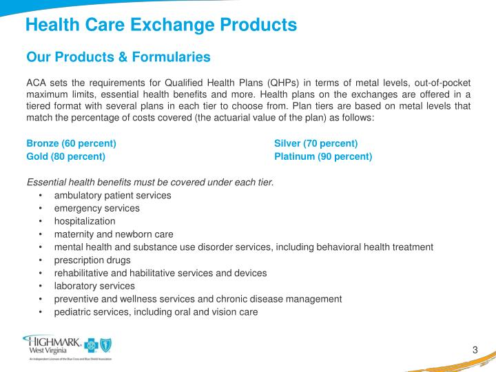 Health care exchange products