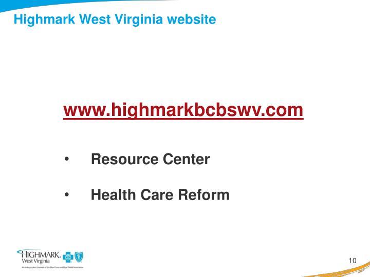 Highmark West Virginia website